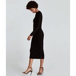 ZARA Knitwear Collection Black Pencil Skirt
